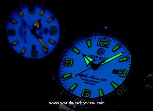Deep Blue Alpha Marine 500 diving watch (orange and green dials glowing in the dark)
