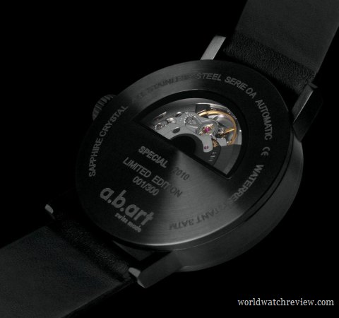 A.B.Art Special OA All Black automatic wrist watch (transparent case back)
