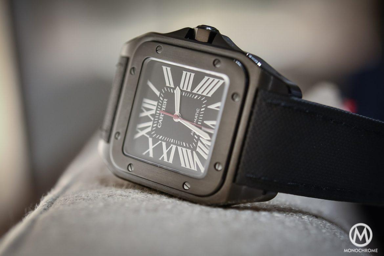 Black Carbon Cartier Santos 100 Replica watch